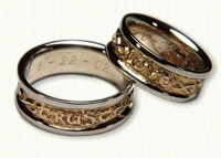 'Love Trust Respect' Posey Wedding Bands in 14kt gold