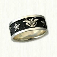 Custom Stars &  Eagles Wedding Band with Black Antiquing