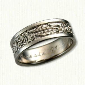 wedding band with black antiquing custom infantry badge and script l m initials - Military Wedding Rings