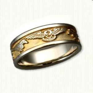 military wedding band 14kt white gold custom us navy wedding band - Military Wedding Rings