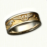 14kt White Gold Custom US Navy Wedding Band