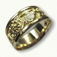 14kt Yellow Gold Custom Marine Corp & Initial Wedding Band
