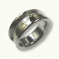 14kt White Gold with 14kt Yellow Sleeve Teton Mountain Range Wedding Band - Raised Rails