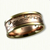 14kt Rose Gold with 18kt Yellow Gold Rails -Teton Mountain Band with Diamonds