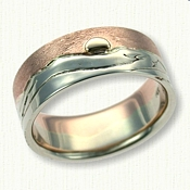 14k Rose Sky - textured 14k White Mountains Custom Wedding Band with 14kt yellow raised sun