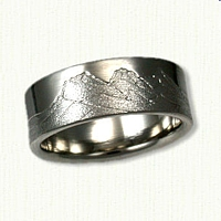 Palladium Custom Hand Engraved Three Sisters Mountain Range Band