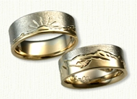 14kt Two Tone Mountain Range Wedding Band Set