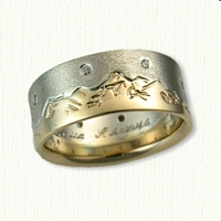 Two Tone Hand Engraved Teton Band with small diamonds in sky to represent stars