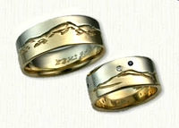 14kt Two Tone Hand Engraved Mountain Range Bands with small diamond and sapphire