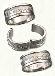 14kt White Gold Custom Mountains - Heart -  Fire - Ear of Corn - Pine trees, Cabin - and an Elk Hinged Wedding Band