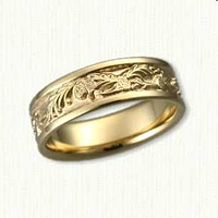 14kt Yellow Gold Custom Arched Pine Branch with Pine Cones Wedding Band