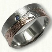 Custom Mountain Wedding band with  Bear & Sapphire- Raised Bear in 14kt White Gold