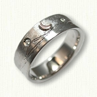 Mountain Range band with raised sun and moon and 2 diamonds with moon - no rails - 14kt Rose Gold Raised Moon