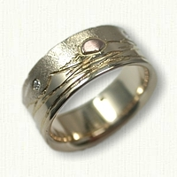 14kt Yellow Gold Custom Mountain range band with 14kt Rose Gold Raised Sun and Moon
