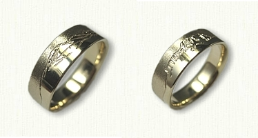 14kt Yellow Gold Double Sided Mountain Range Wedding Band - different mountain ranges on both sides
