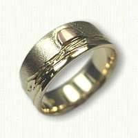 14kt Yellow Gold Custom Mountain Range Band with 14kt Rose Gold Raised Sun