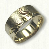 14kt Yellow Gold Custom Mountain Range Band with 14kt Rose Gold Raised Moon