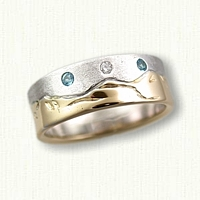 14kt Two Tone Mountain Range Wedding Band with Blue and White Diamonds