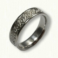 14kt White Gold Celtic Wave wedding band