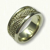 14kt Green Gold Nautical Turkshead Wedding Band with Sleeve