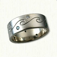 14kt White Gold Custom Reverse Etch Wave Band, with  alternating Blue and White diamonds