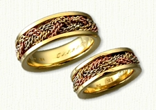 18kt Yellow Gold Tri Color Sleeved Turkshead Wedding Band Set