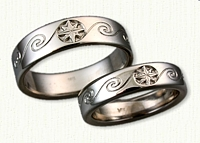 14kt White Gold Custom Wave Pattern Wedding Band with Compass Rose