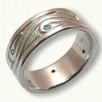 Custom Wave-Vine Wedding band with 6 light blue diamonds
