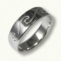 14kt White Gold Nautical Reverse Etch Single Wave Band