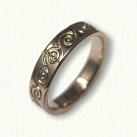 14kt Rose Gold Custom Etched Celtic Wave Wedding Band