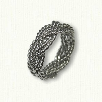 Platinum Hand Braid Six Strand Custom Turks Head Wedding Band