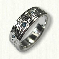 14kt Custom Nautical Wave/Vine Band with Blue Diamonds -with 10 blue diamonds 1.7 mm each