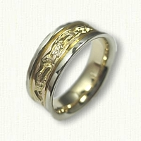 14kt Two Tone Scuba Diver Wedding Band