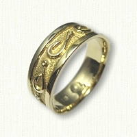18kt Yellow Gold Custom Fish Hook Wedding Band