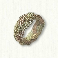 14kt Tri Color Gold Hand Braided Turkshead Wedding Band