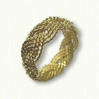 18kt yellow gold custom hand braided turkshead band - 9 strands -8 mm width