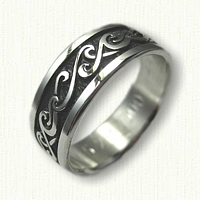Double Wave Wedding Band - Sterling Silver with Black Antiquing