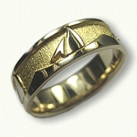 #57-14kt Yellow Gold Custom Nautical Sailboat Wedding Band