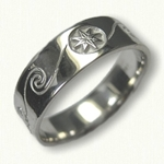 #58-14kt White Gold Custom Wave & Compass Rose Wedding Band