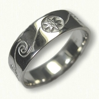#57-14kt White Gold Custom Wave & Compass Rose Wedding Band