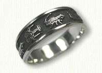 #59-Custom Sterling Silver Lobster Wedding Band with Antiquing