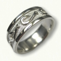 #60-Custom Sterling Silver Fish Hook Wedding Band