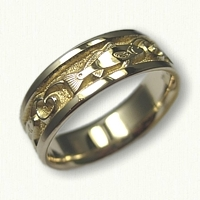 Yellow Gold Custom Redwish Wedding Band