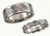 47-14kt White Gold Custom Croatian Knot Nautical Band Set