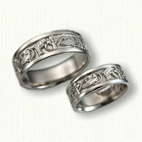 57-14kt White Gold Custom Celtic Crosses with Salmon Wedding Band