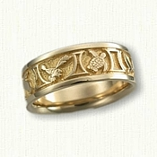 -14kt Yellow Gold Custom Sea Turtle & Hawks Wedding Band