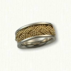 14kt White Gold with 14kt Yellow Gold Braided and Sleeved Turkshead Wedding Band