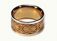 #19: 14kt yellow Ornamental Leaf Band