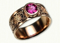 #20: 14kt rose Ornamental Leaf Band with bezel set pink tourmaline