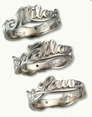 Wedding Band Custom Sculpted With Names 3 Diamonds 02ct Bead Set